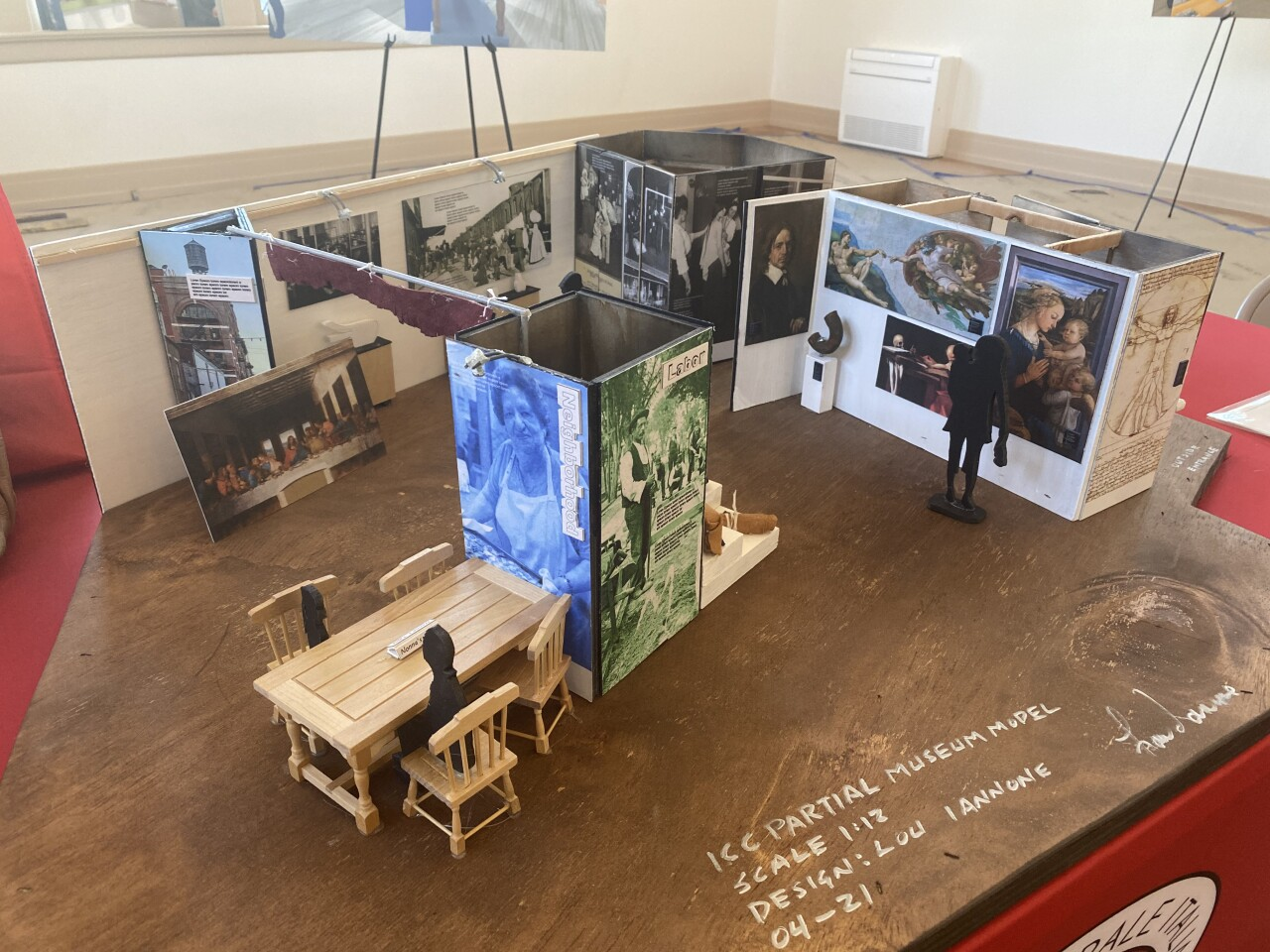 A model of the exhibit soon to come to the cultural center stands in the room currently