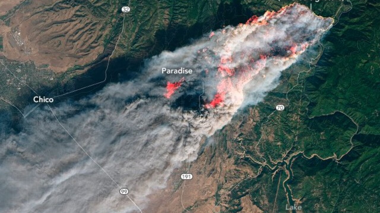 Camp, Woolsey and Hill fires visible from space, NASA photos show