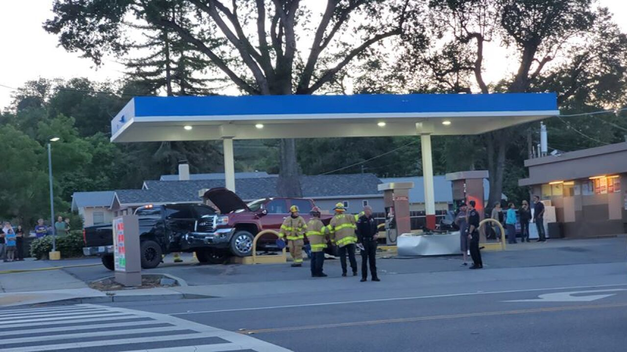 Paso Robles Fire and Emergency Services responding to gas station after truck crashes into a pump
