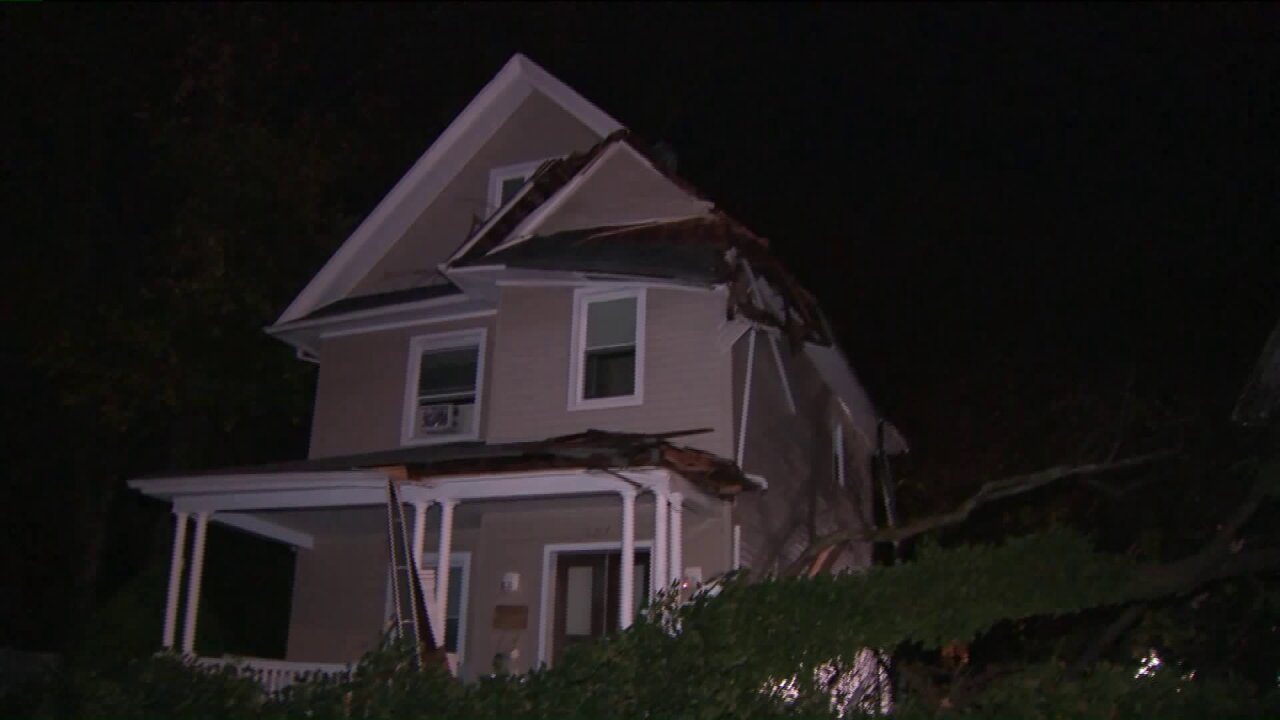 Downed tree damages house in Englewood, NJ