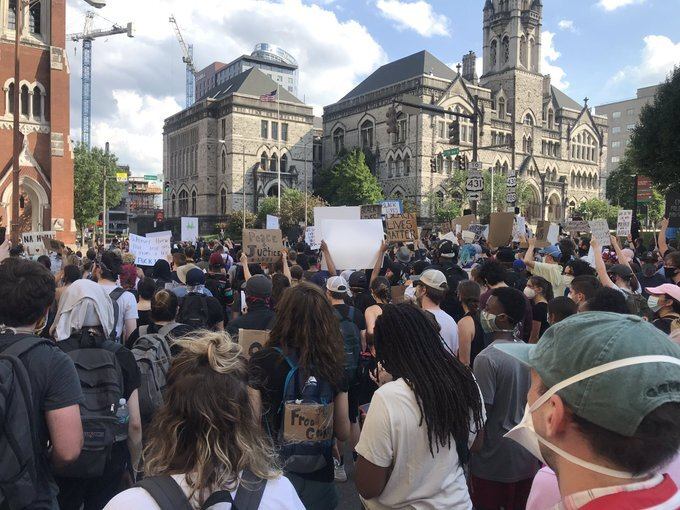 protest march downtown june 4