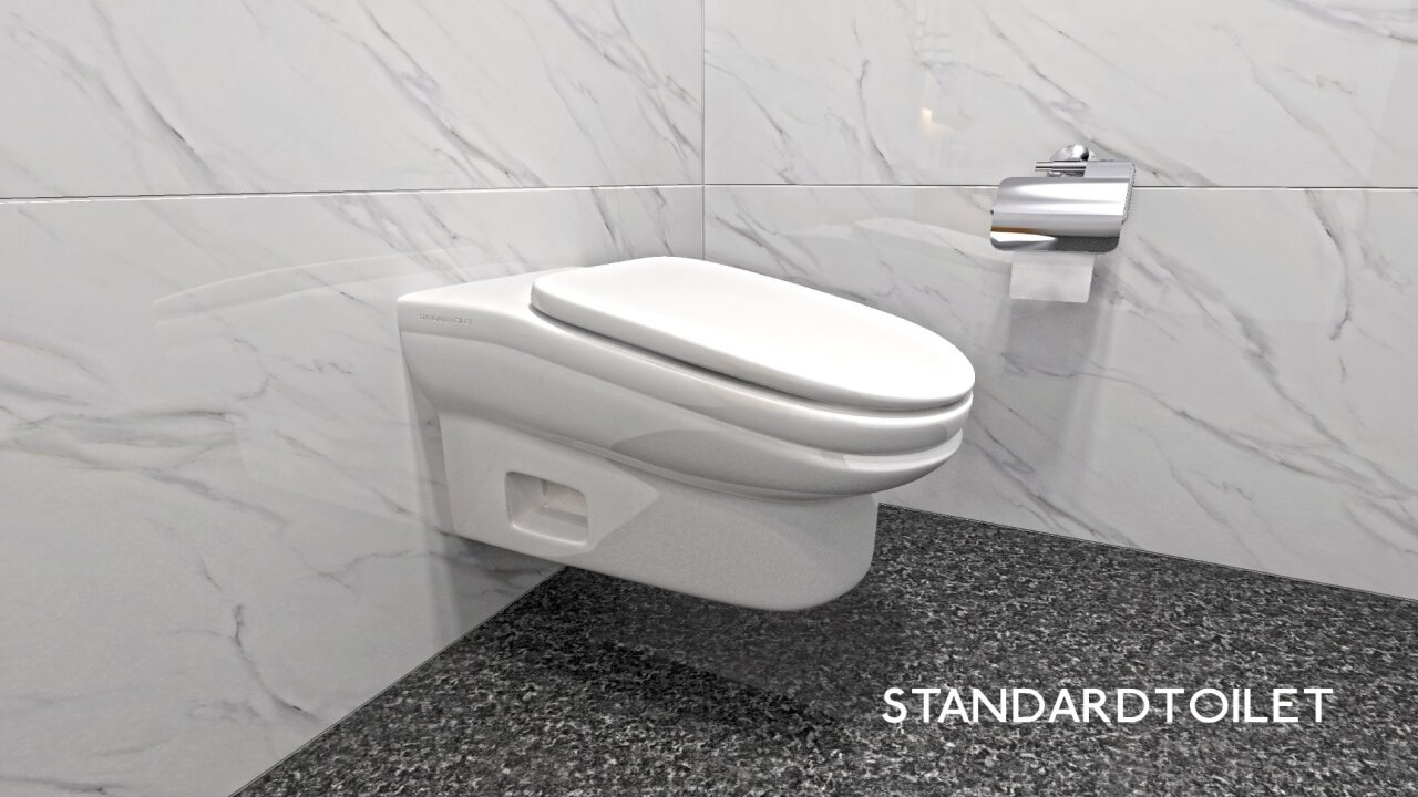 These slanted toilets are designed to reduce the time workers spend in the bathroom
