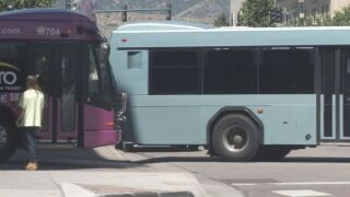 Buses in downtown Colorado Springs