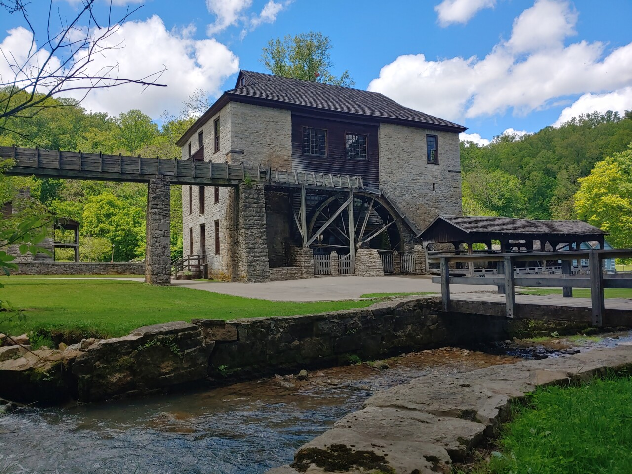 This photo shows a grist mill at Spring Mill State Park in Indiana.