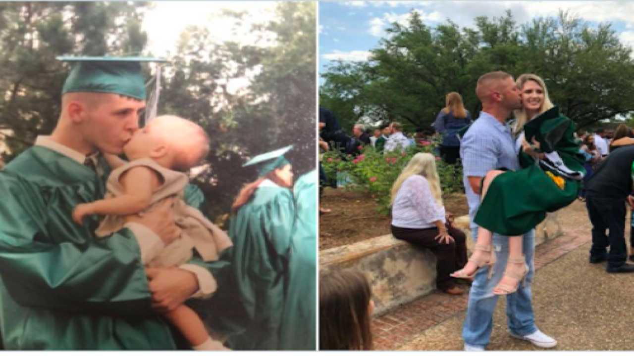 Dad And Daughter Re-created His Graduation Photo From 18 Years Ago—And The Result Is So Sweet