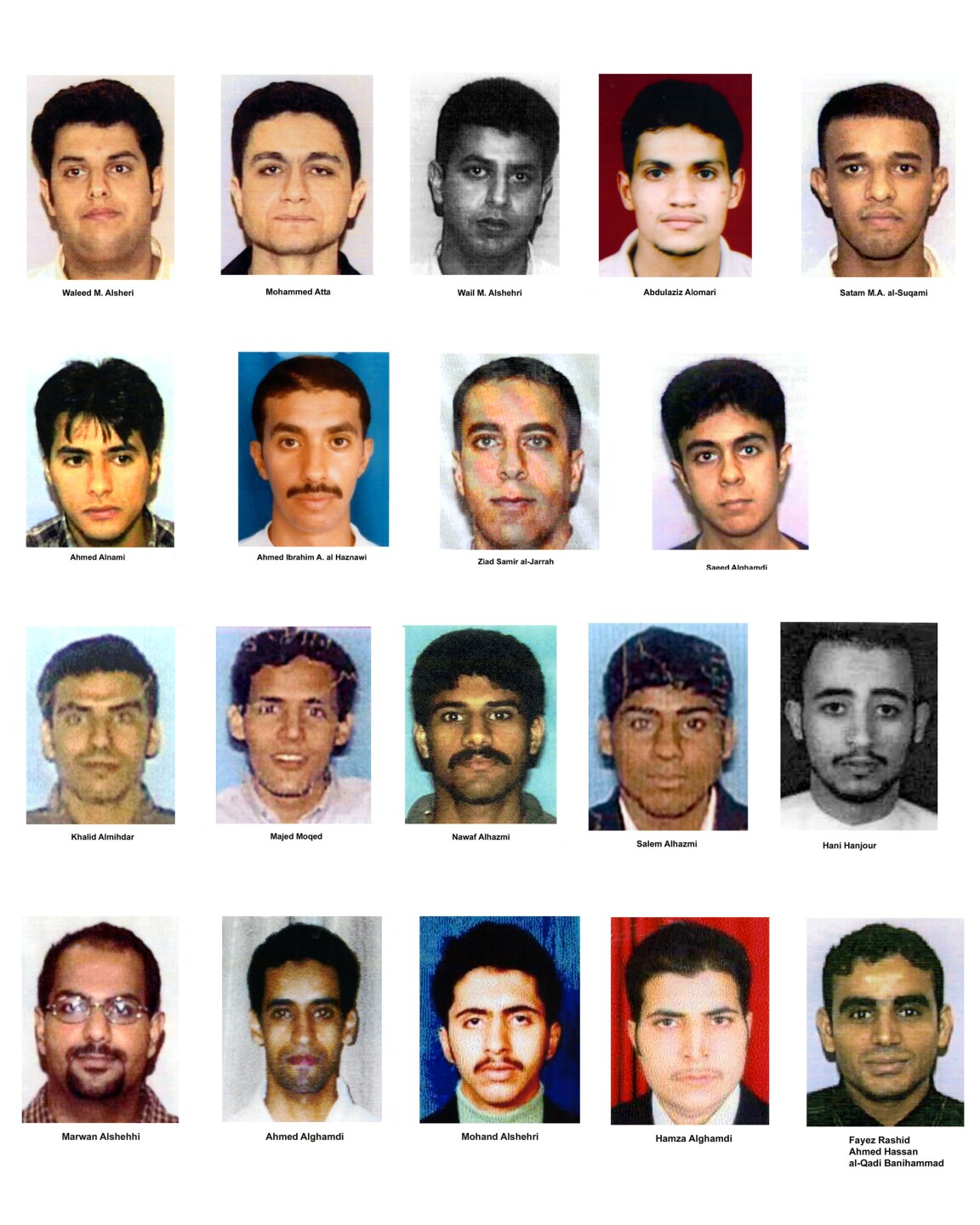 FBI released an updated list of the 19 hijackers