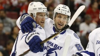 Steven Stamkos with Nikita Kucherov