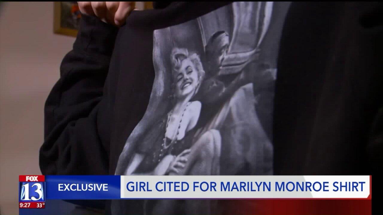 Dress code dispute at Utah school after teen wears top showing Marilyn Monroe'sshoulders