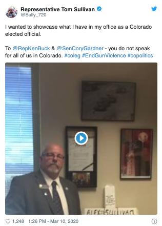 Rep Tom Sullivan tweet in response to Ken Buck gun tweet