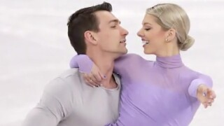 Married couple skates together in Olympic figure skating competition on Valentine's Day
