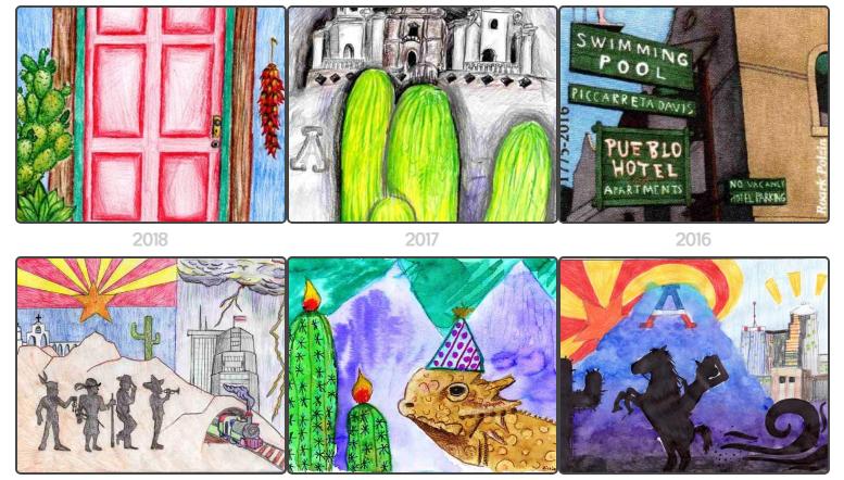 Previous Stamp Contest grand prize winner designs