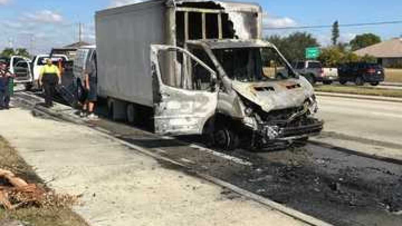 Truck catches fire after collision in Cape Coral