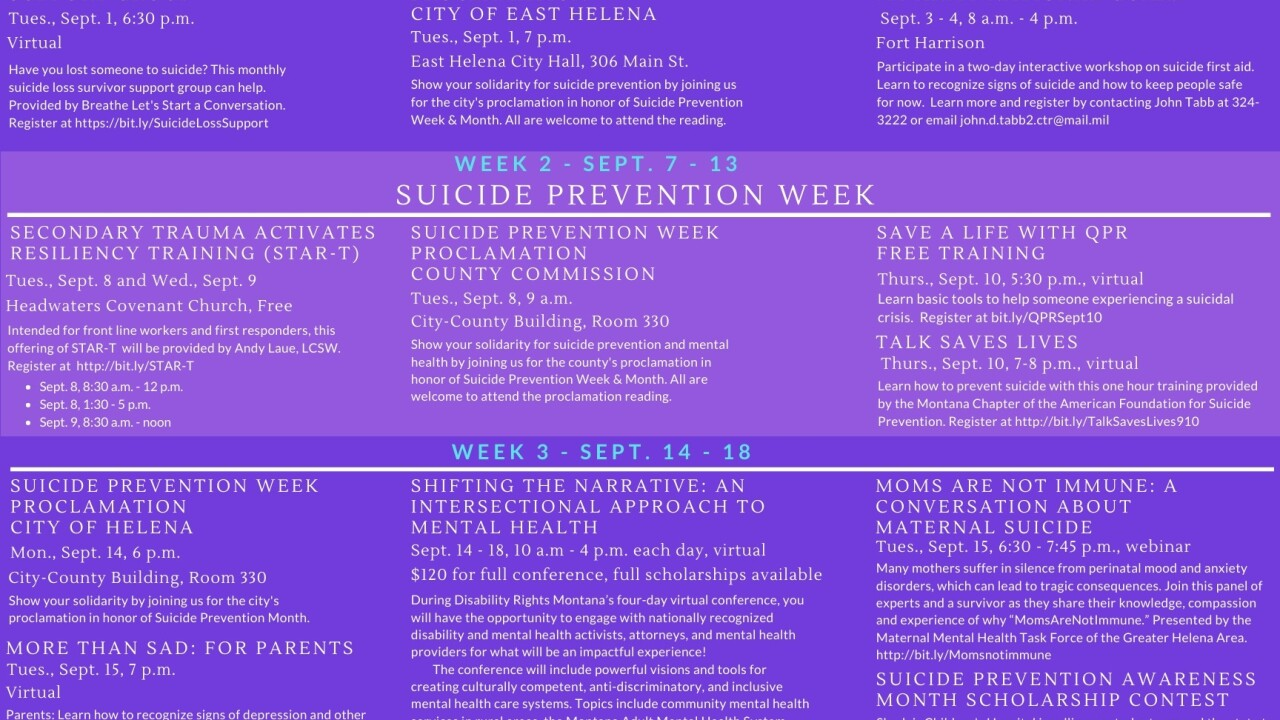 Suicide Prevention Coalition highlights events for Suicide Prevention Month