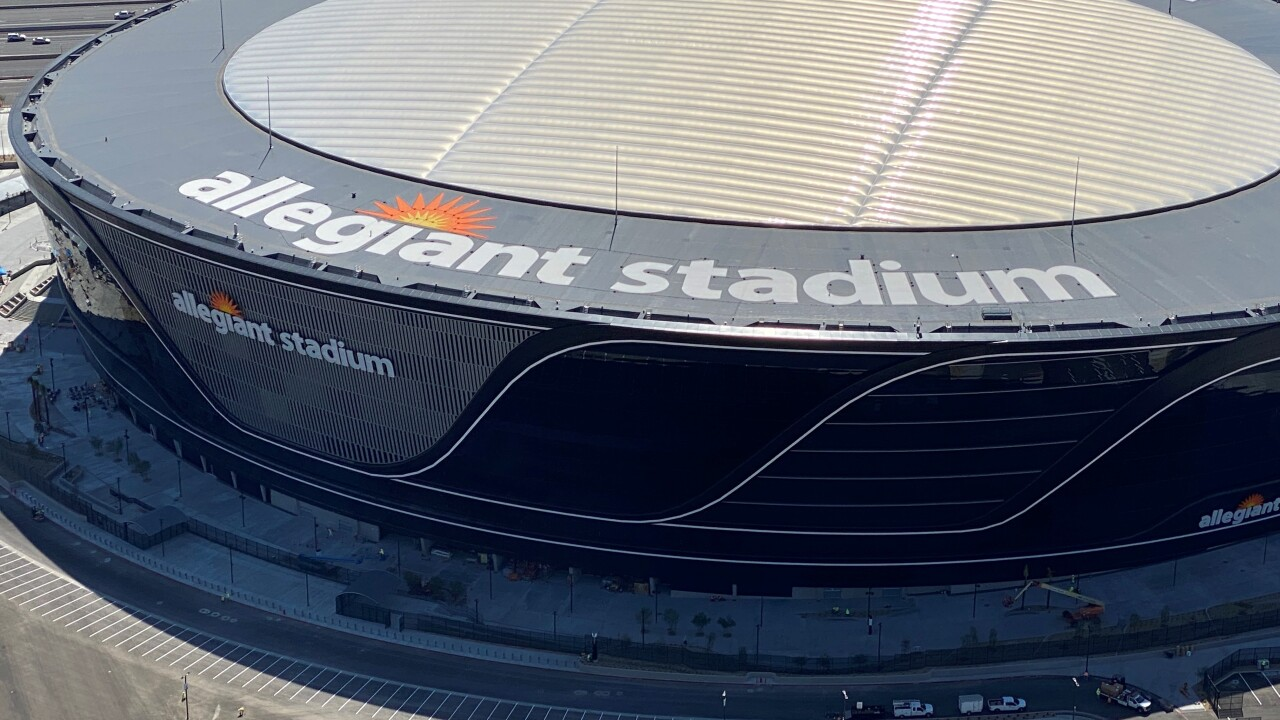 Allegiant Stadium is located next to the Las Vegas Strip