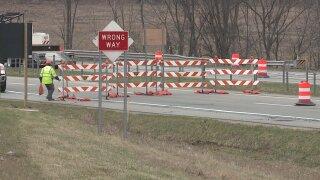 Freeway closure barriers file photo.jpeg
