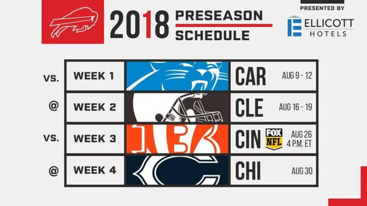 Bills release 2018 preseason schedule