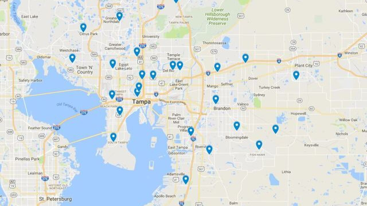 Arrests by school in Hillsborough Co. this year
