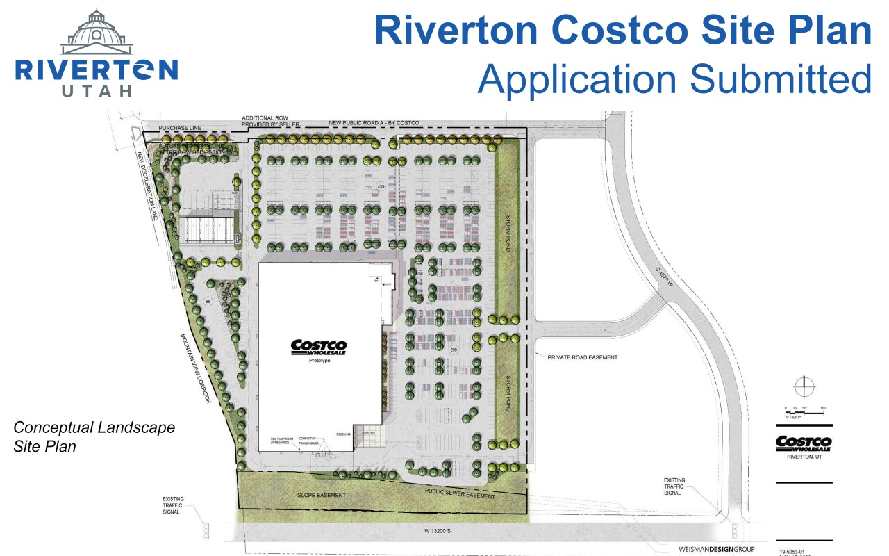 The map showing the proposed site plan for the Riverton Costco.