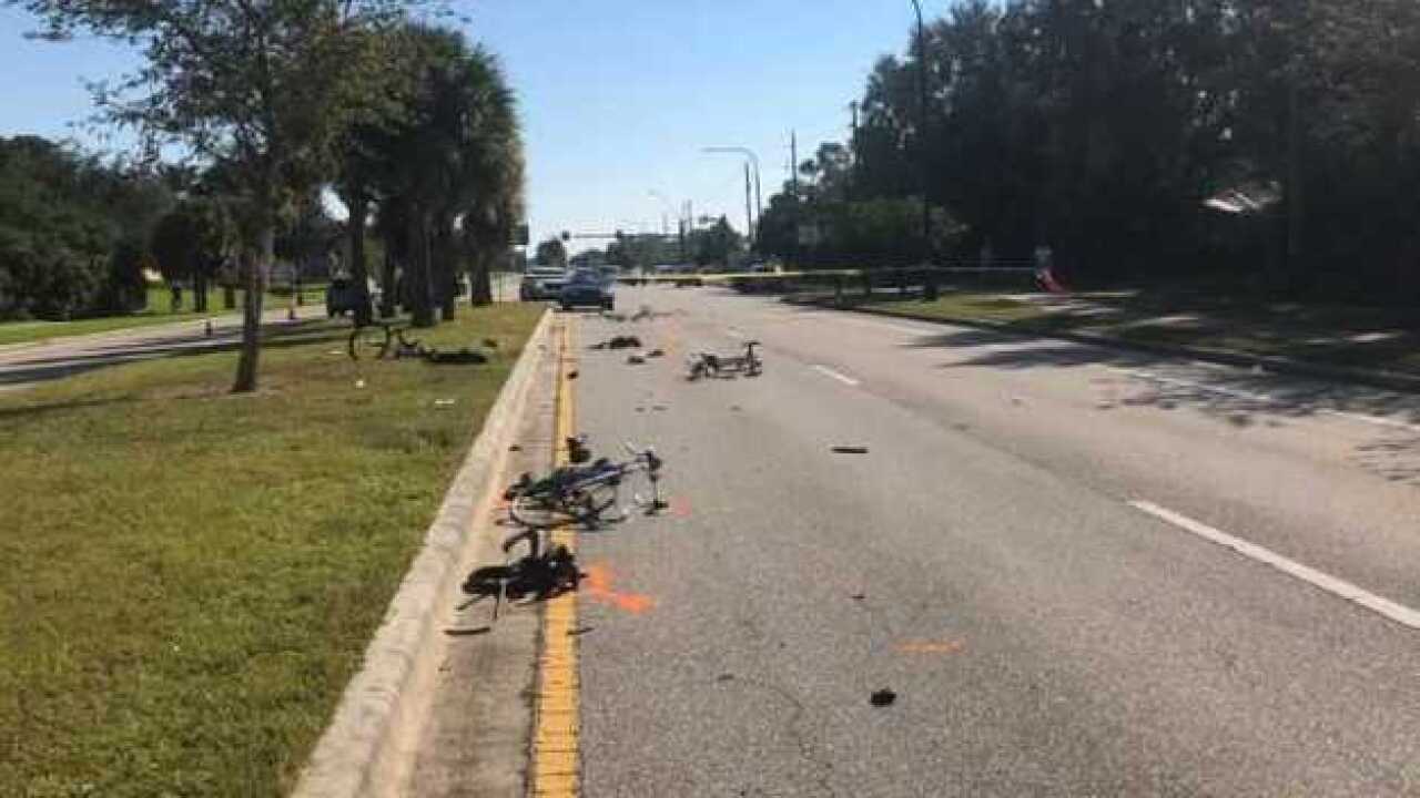 One bicyclist dead after group run over