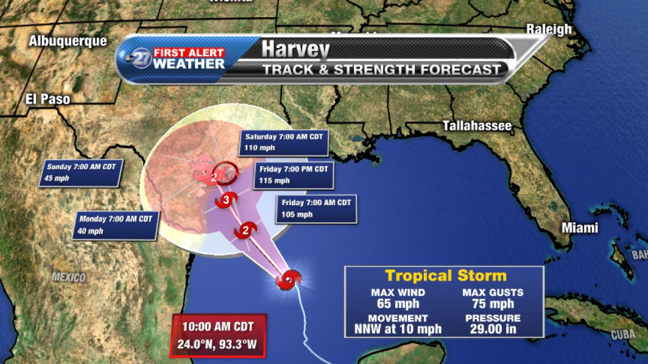 Tropical Storm Harvey 5am Forecast track B (08/24/2017)