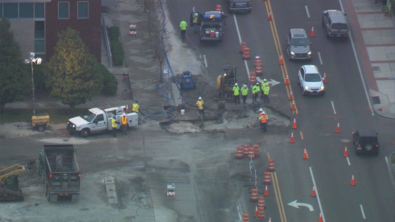 lane closures in place on kennedy boulevard while crews repair water