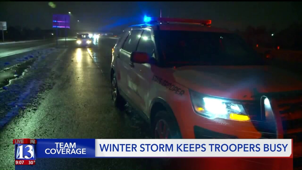 200+ crashes, 2 UHP troopers hit during Monday's winter storm