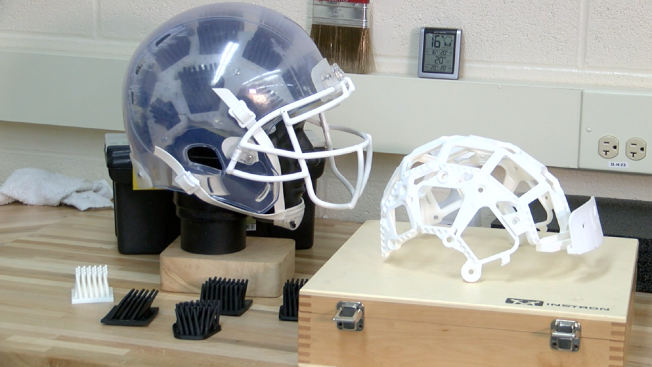 Doctors at Ohio college create new style of football helmet that could reduce concussions