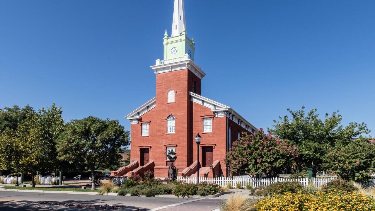 Exterior of the Saint George Tabernacle in Saint George, Utah.
