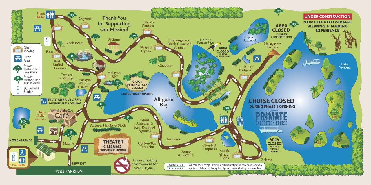 New Naples Zoo map for phase one of reopening.