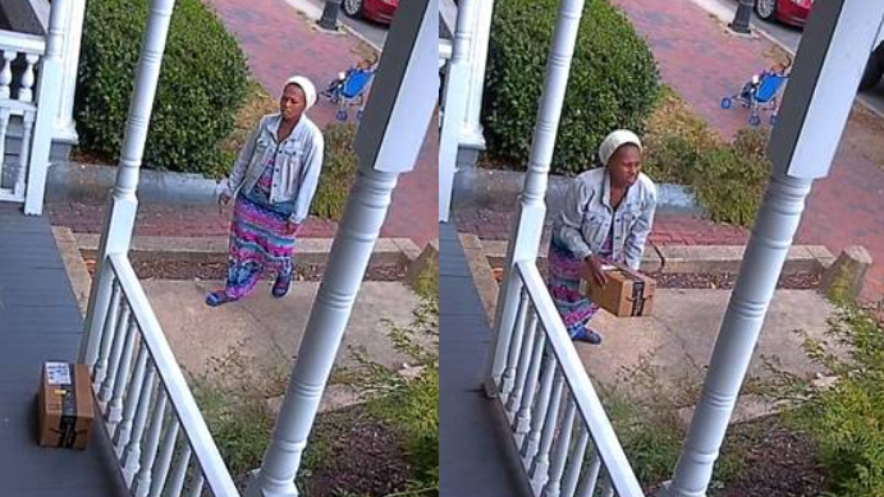 Video shows woman pushing stroller steal package off Richmond porch