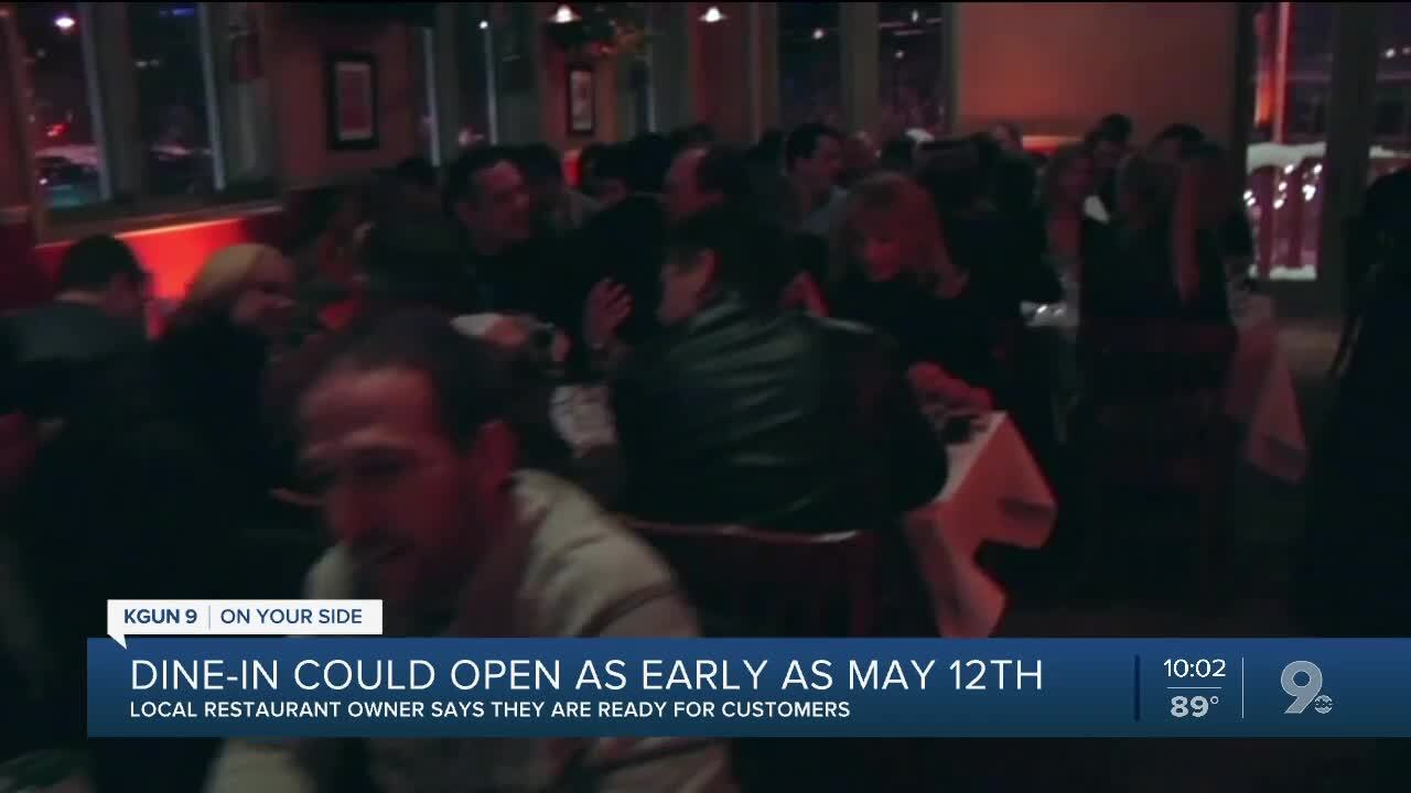 Restaurant dine-in service could open May 12
