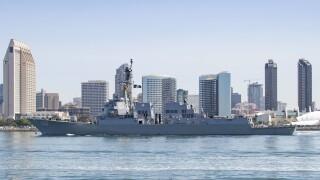 USS Kidd Departs San Diego