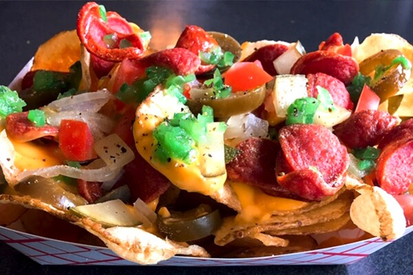 Chicago Dog Nachos at Slim PBR Park