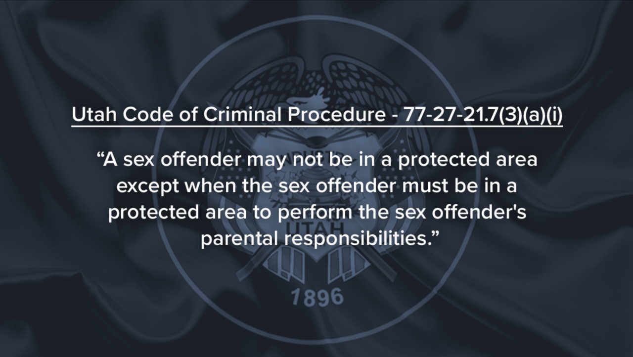 """A sex offender may not be in a protected area except when the sex offender must be in a protected area to perform the sex offender's parental responsibilities."""