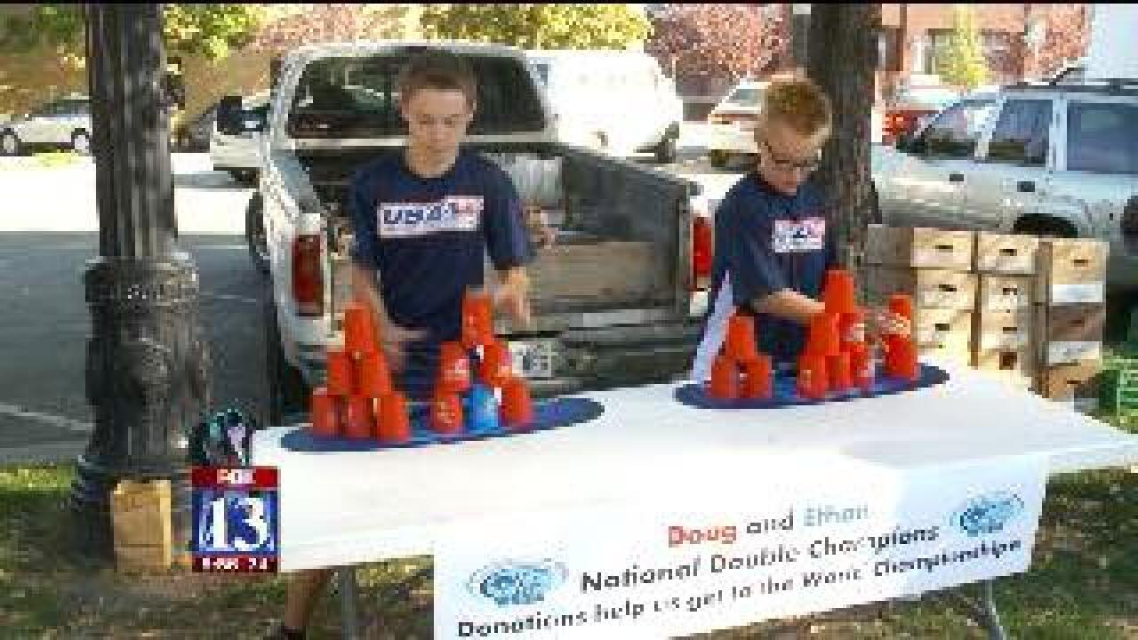 Utah boys raise money to attend stacking competition