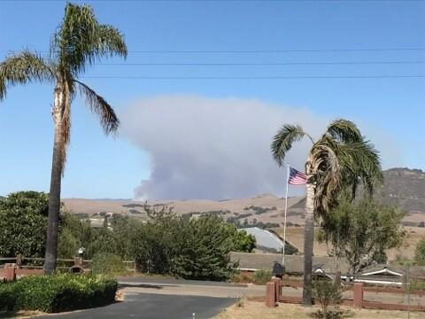 Lopez Lake fire. Photo courtesy Kandie Sampson