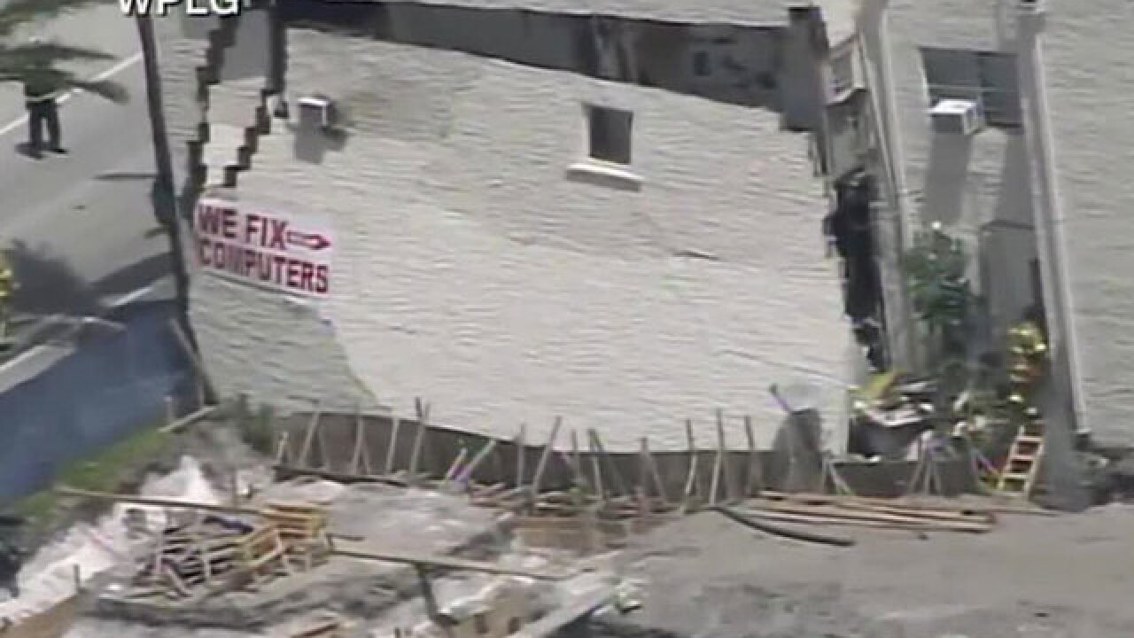 Kitten rescued after wall of Dania Beach building collapses