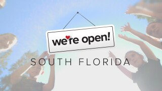 'We're Open South Florida' summer edition kids with their hands in the air graphic