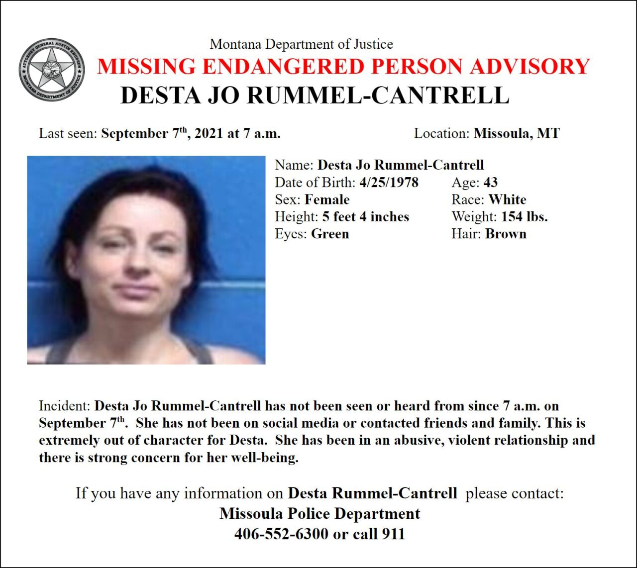 Missing-Endangered Person Advisory has been issued for Desta Jo Rummel-Cantrell