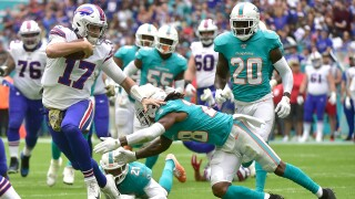 Josh Allen #17 of the Buffalo Bills scrambles during the second quarter against the Miami Dolphins at Hard Rock Stadium on November 17, 2019 in Miami, Florida.