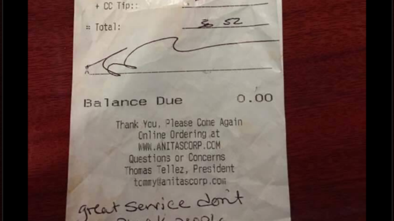 Waitress claims a customer left a racist note on receipt