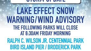 The City of Buffalo has announced several parks will close due to winter weather.