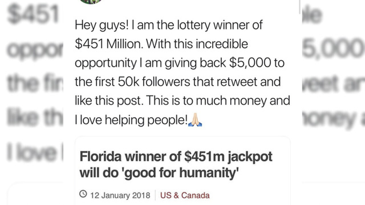 Fake social media pages pop up promising cash from lottery winner 4bfc351b9ada