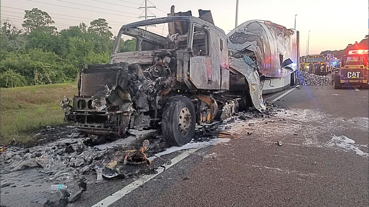 Semi carrying energy drink cans catches fire, shuts down SB