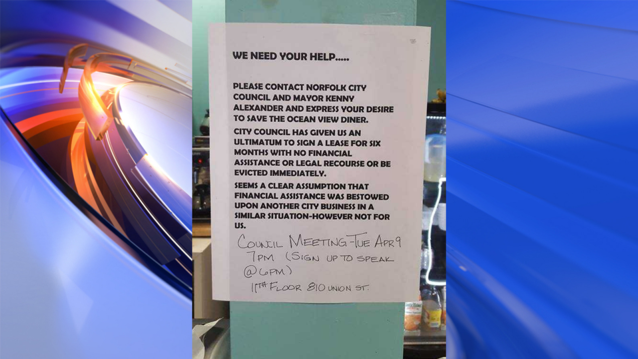 Oceanview Diner asking people to speak on their behalf at upcoming city council meeting