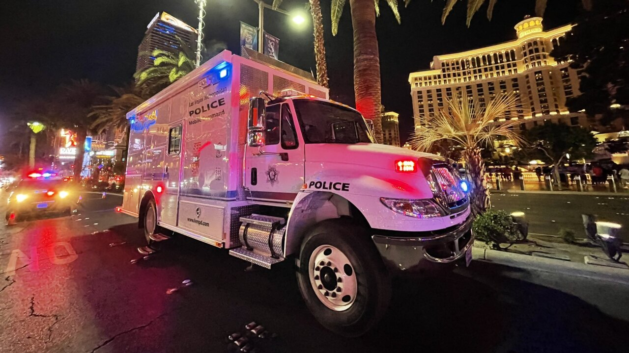 Capt. Dori Koren of LVMPD shares a photo of the mobile command center set up on Las Vegas Boulevard on May 1, 2021, during a two-month operation to address crime and other safety issues on the Las Vegas Strip.