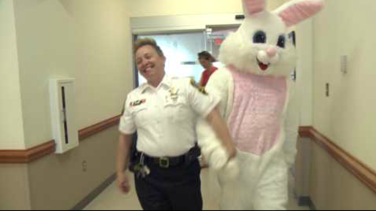 Norfolk Sheriff's Office brings the Easter Bunny to hospitalized children