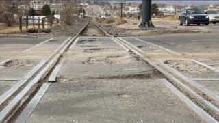 Railroad crossing at Oxford and S. Natches Court