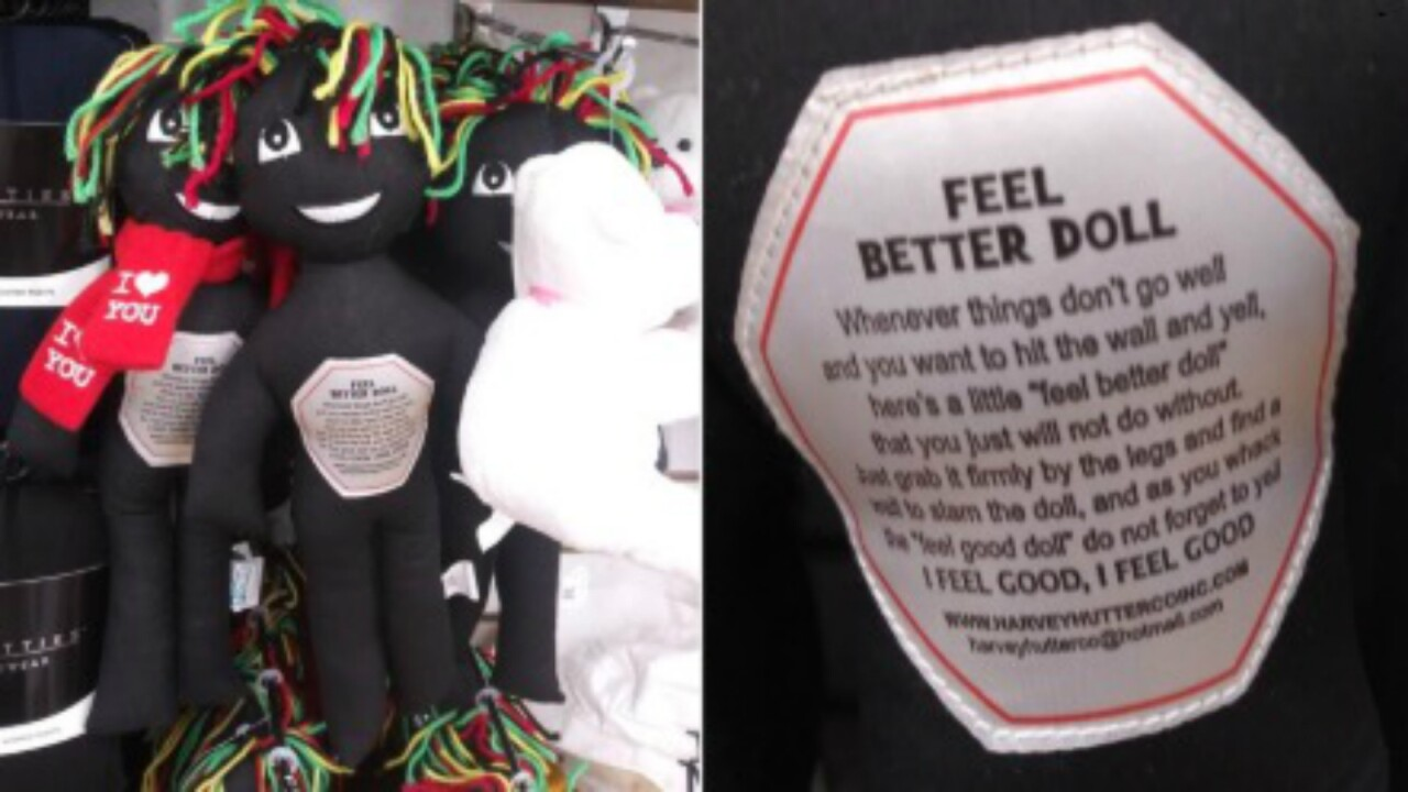 Black rag dolls intended to be abused were pulled from shelves after they were called racist