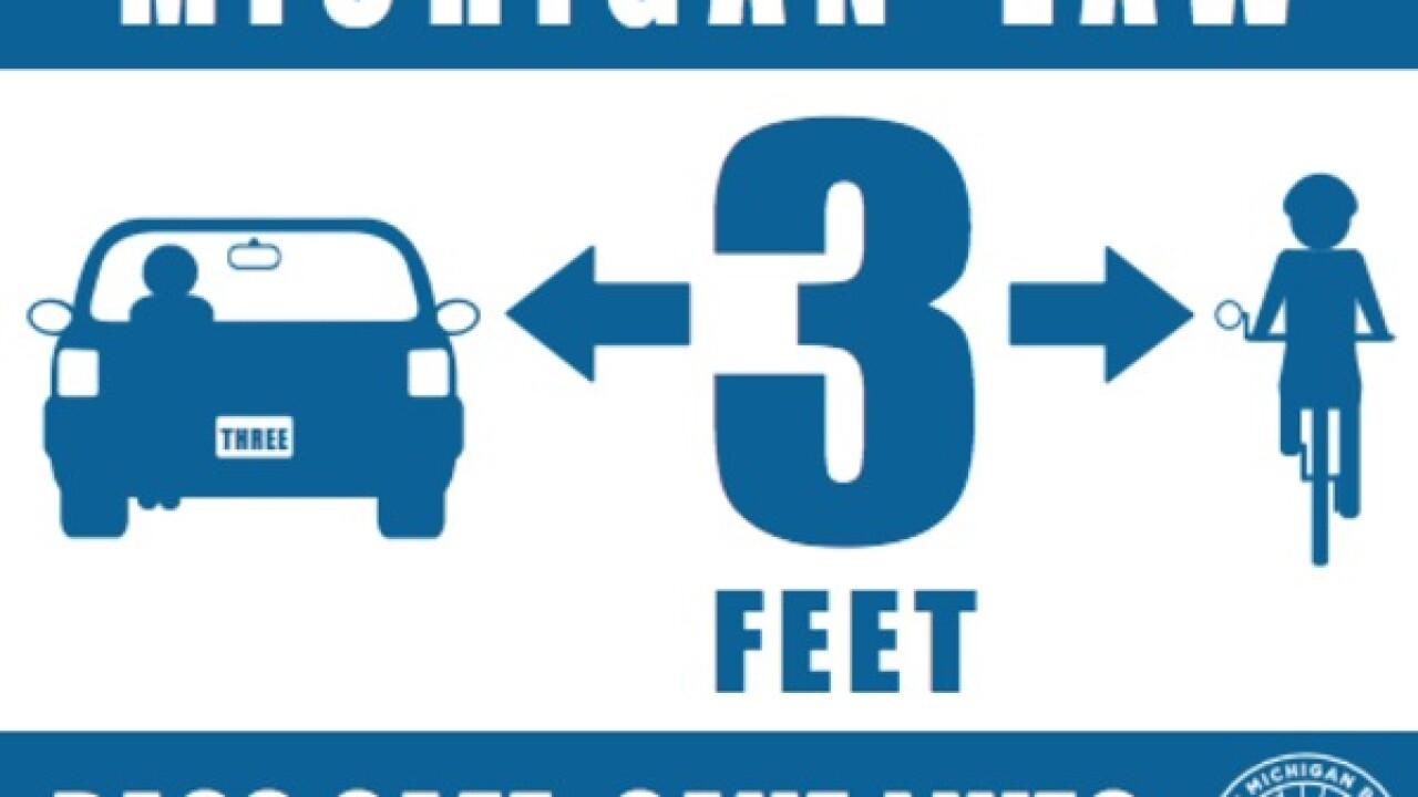 New Michigan law says drivers must leave 3-feet of space when passing bicyclists